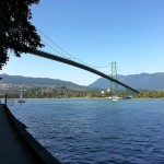 Walking along the Seawall with Lions Gate Bridge in foreground
