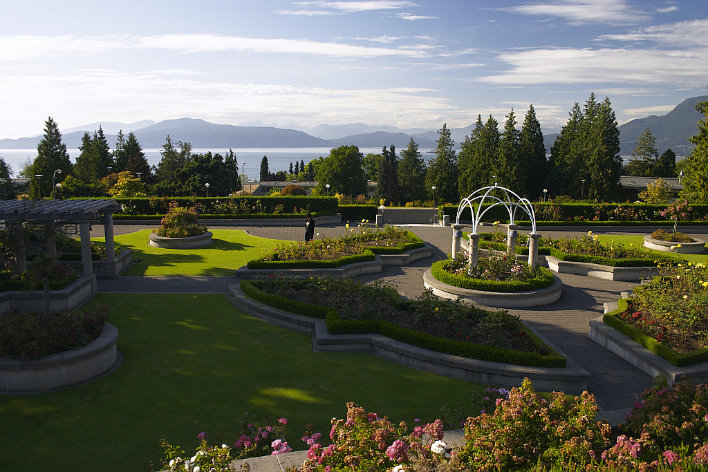 Rose Garden with a view towards the Strait of Georgia