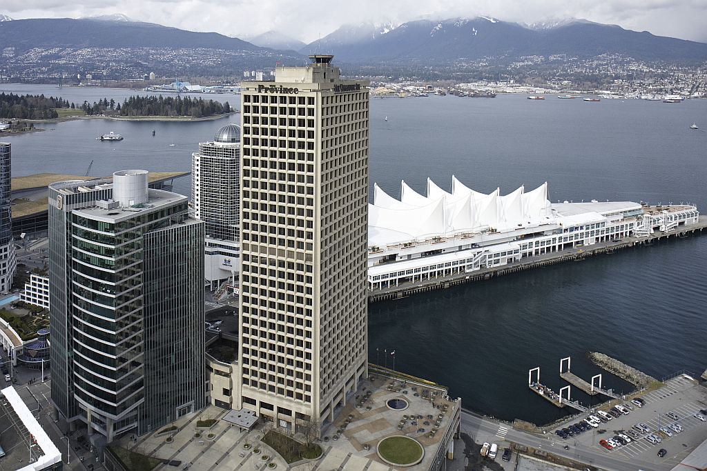 Overview of the North Shore with Granville Square and Canada Place in foreground