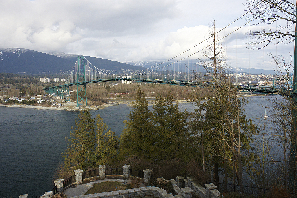 View from Prospect Point towards North Vancouver with Lions Gate Bridge in foreground