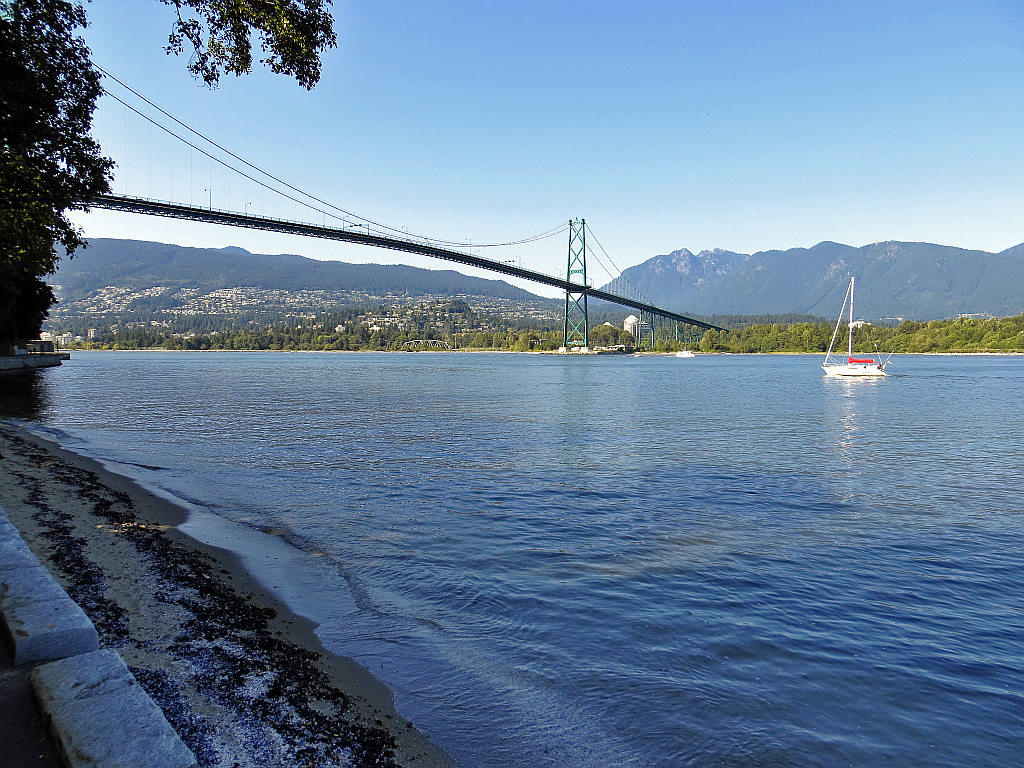 View from the Seawall towards West Vancouver and Lions Gate Bridge