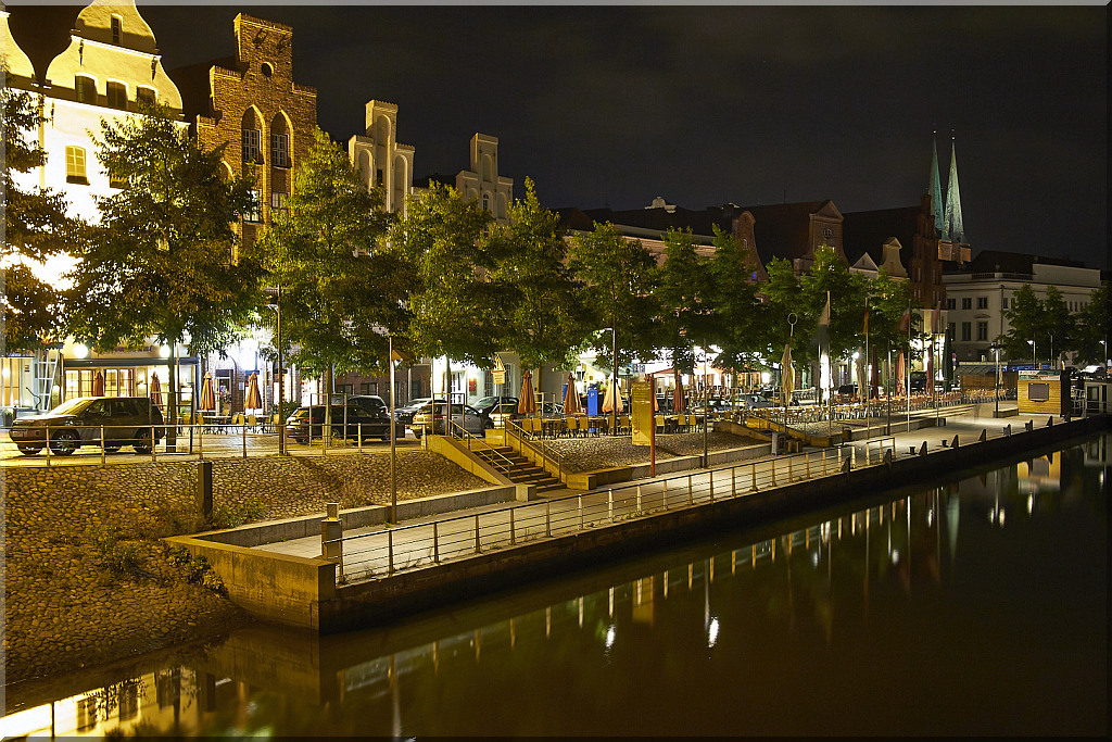 Lubeck: Night view on Trave River